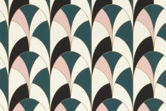 638011 cikkszámú tapéta.Absztrakt,geometriai mintás,fehér,fekete,pink-rózsaszín,türkiz,lemosható,vlies tapéta