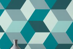 638110 cikkszámú tapéta.3d hatású,geometriai mintás,kék,türkiz,zöld,lemosható,vlies tapéta
