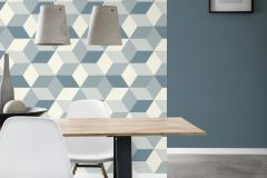 638127 cikkszámú tapéta.3d hatású,geometriai mintás,fehér,kék,lemosható,vlies tapéta