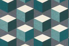638370 cikkszámú tapéta.3d hatású,geometriai mintás,fehér,szürke,türkiz,zöld,lemosható,vlies tapéta