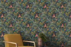 639216 cikkszámú tapéta.állatok,természeti mintás,arany,piros-bordó,türkiz,lemosható,vlies tapéta