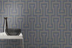 523928 cikkszámú tapéta.Csillámos,geometriai mintás,kockás,különleges felületű,különleges motívumos,retro,textil hatású,ezüst,gyöngyház,szürke,lemosható,vlies tapéta