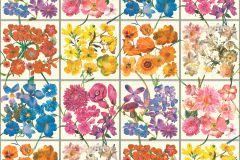 303407 cikkszámú tapéta.Konyha-fürdőszobai,virágmintás,bézs-drapp,fehér,kék,lila,narancs-terrakotta,pink-rózsaszín,sárga,zöld,lemosható,papír tapéta