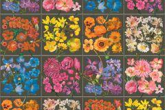 303414 cikkszámú tapéta.Konyha-fürdőszobai,különleges felületű,rajzolt,virágmintás,bézs-drapp,kék,lila,pink-rózsaszín,sárga,szürke,zöld,lemosható,papír tapéta