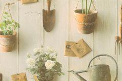 307306 cikkszámú tapéta.Rajzolt,retro,természeti mintás,virágmintás,csíkos,fa hatású-fa mintás,konyha-fürdőszobai,különleges felületű,különleges motívumos,barna,bézs-drapp,fehér,narancs-terrakotta,sárga,szürke,zöld,lemosható,papír tapéta