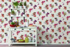 307504 cikkszámú tapéta.Feliratos-számos,konyha-fürdőszobai,különleges felületű,különleges motívumos,rajzolt,retro,természeti mintás,bézs-drapp,fehér,lila,narancs-terrakotta,pink-rózsaszín,sárga,szürke,vajszín,zöld,lemosható,papír tapéta
