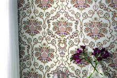 307603 cikkszámú tapéta.Barokk-klasszikus,gyöngyös,különleges felületű,különleges motívumos,pöttyös,bézs-drapp,kék,lila,narancs-terrakotta,pink-rózsaszín,vajszín,zöld,lemosható,papír tapéta
