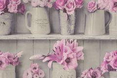 307702 cikkszámú tapéta.3d hatású,csíkos,konyha-fürdőszobai,különleges felületű,különleges motívumos,rajzolt,retro,természeti mintás,virágmintás,fehér,pink-rózsaszín,szürke,lemosható,papír tapéta