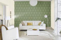 532142 cikkszámú tapéta.Barokk-klasszikus,különleges felületű,metál-fényes,arany,zöld,lemosható,vlies tapéta