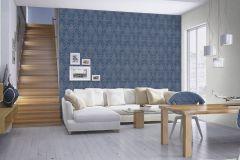 532159 cikkszámú tapéta.Barokk-klasszikus,különleges felületű,metál-fényes,kék,lemosható,vlies tapéta
