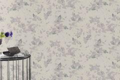 402537 cikkszámú tapéta.Csillámos,különleges felületű,virágmintás,ezüst,fehér,lila,lemosható,vlies tapéta