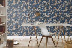 402544 cikkszámú tapéta.Különleges felületű,virágmintás,csillámos,arany,bézs-drapp,kék,lemosható,vlies tapéta