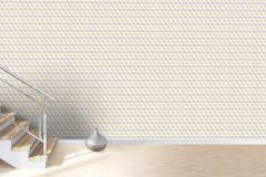 402711 cikkszámú tapéta.3d hatású,geometriai mintás,különleges felületű,bézs-drapp,fehér,lila,szürke,lemosható,vlies tapéta