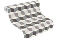 402728 cikkszámú tapéta.3d hatású,geometriai mintás,különleges felületű,fehér,fekete,szürke,lemosható,vlies tapéta