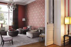 802658 cikkszámú tapéta.Barokk-klasszikus,textil hatású,barna,piros-bordó,lemosható,vlies tapéta