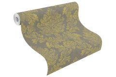 802672 cikkszámú tapéta.Barokk-klasszikus,textil hatású,barna,sárga,szürke,lemosható,vlies tapéta