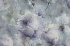 467307 cikkszámú tapéta.Absztrakt,virágmintás,kék,lila,szürke,lemosható,vlies tapéta