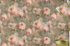 467314 cikkszámú tapéta.Retro,virágmintás,bronz,pink-rózsaszín,zöld,lemosható,vlies tapéta
