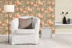 467345 cikkszámú tapéta.Retro,virágmintás,bronz,narancs-terrakotta,pink-rózsaszín,zöld,lemosható,vlies tapéta
