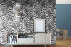 L77219 cikkszámú tapéta.3d hatású,különleges felületű,metál-fényes,ezüst,fekete,lemosható,vlies tapéta