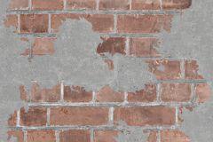 L77608 cikkszámú tapéta.Kőhatású-kőmintás,különleges felületű,narancs-terrakotta,szürke,gyengén mosható,vlies tapéta