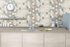 L77701 cikkszámú tapéta.Fa hatású-fa mintás,konyha-fürdőszobai,különleges felületű,marokkói ,bézs-drapp,kék,narancs-terrakotta,vajszín,lemosható,vlies tapéta