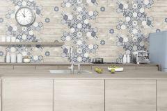 L77711 cikkszámú tapéta.Fa hatású-fa mintás,konyha-fürdőszobai,különleges felületű,marokkói ,barna,bézs-drapp,kék,szürke,lemosható,vlies tapéta