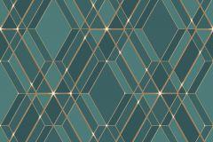 L77811 cikkszámú tapéta.Absztrakt,különleges felületű,arany,türkiz,zöld,lemosható,vlies tapéta