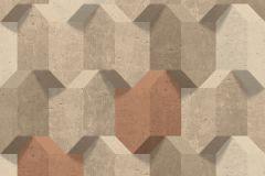 L77908 cikkszámú tapéta.3d hatású,különleges felületű,barna,bézs-drapp,narancs-terrakotta,lemosható,vlies tapéta