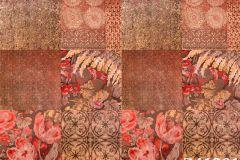 Z41201 cikkszámú tapéta.Különleges felületű,marokkói ,virágmintás,narancs-terrakotta,piros-bordó,súrolható,vlies tapéta