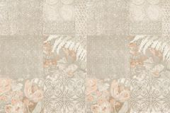 Z41216 cikkszámú tapéta.Különleges felületű,marokkói ,virágmintás,bézs-drapp,narancs-terrakotta,vajszín,súrolható,vlies tapéta