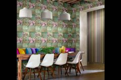 Z41243 cikkszámú tapéta.Különleges felületű,marokkói ,virágmintás,arany,lila,pink-rózsaszín,piros-bordó,türkiz,zöld,súrolható,vlies tapéta
